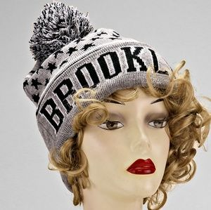 Gray & Blk Brooklyn Beanie hat w/ pom pom